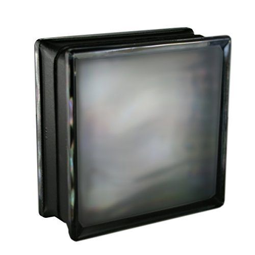6 piezas BM bloques de vidrio AGUA perla negro satinado por dos lado (