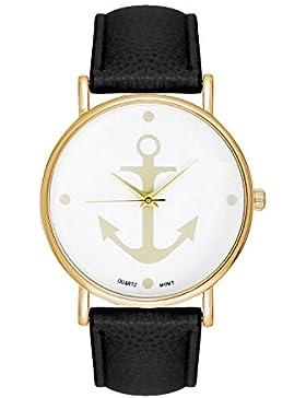 Damenuhr Armbanduhr Edelstahl Uhr Uhren Günstig Farbe: Schwarz / Gold Style: Anker Matrosen Sailor Matrosenstreifen...