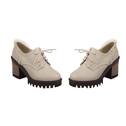 VogueZone009 Femme Floral PU Cuir à Talon Haut Lacet Chaussures Légeres Beige