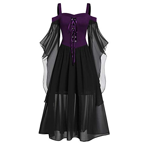 Aiserkly Damen Halloween Kleid Plus Size Cold Shoulder Gothic Kleid mit Schmetterlingsärmeln Hexenkostüm Mittelalter Renaissance Kostüm Cosplay Karneval Fasching Lila 2XL (1960's Vintage Kostüm)