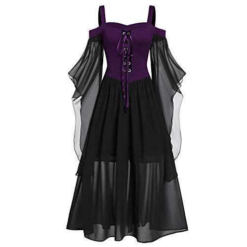Aiserkly Damen Halloween Kleid Plus Size Cold Shoulder Gothic Kleid mit Schmetterlingsärmeln Hexenkostüm Mittelalter Renaissance Kostüm Cosplay Karneval Fasching Lila (Böse Hexe Des Westens Sexy Kostüm)