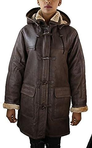 Manteau femme veste cuir peau de mouton retournée véritable marron beige style aviateur