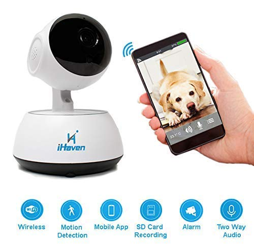Price comparison product image iHaven Pet Cam Wifi Camera Indoor with App Monitor Cat Dog Cameras for Home Baby Video Monitors Security CCTV Wireless Smart Alert System to Phone Pan / Tilt Night Vision 2-Way Audio iPhone / Android / PC