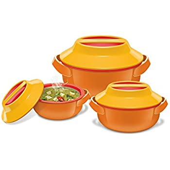 Milton Microwow Insulated Casserole Gift, Set of 3, Orange
