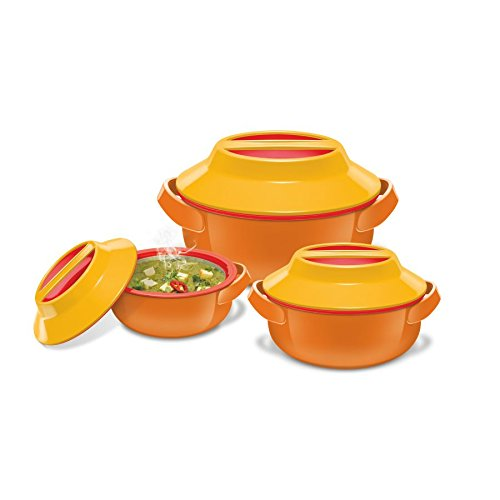 Milton Microwow Plastic Casserole Gift Set, 3-Pieces, Orange