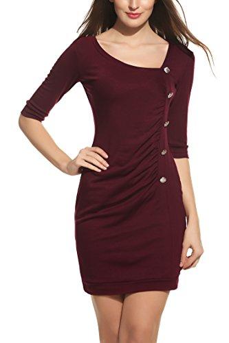 Zeagoo Damen Jersey Kleid Wickelkleid Etuikleid Bodyconkleid Elegant Party Abend Kleid Halbarm V Ausschnitt Weinrot XL