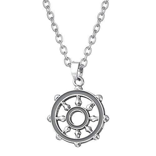 Fishhook - Collar con colgante de rueda budista Dharma, símbolo de la vida equilibrada y una conducta correcta
