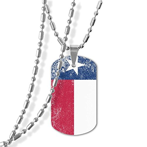 MAMA LAZCNYQL Woman Grunge Texas State Flag Necklace Pendant Jewelry Army Card Dog Tag Great Gift (State Flag Dog Tag)