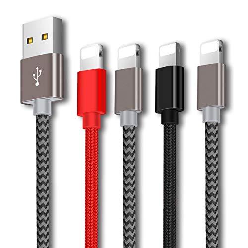 Cable Phone-Zeuste Cargador Phone [4PACK 2M+1.5M+1.5M+1M] de Nylon Trenzado Cable USB Compatible con Phone XS/XR/X/8/8 Plus/7/6s/6Plus/6/Pad/Pod y más(Black+Gris+Gris+Rojo)