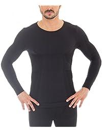 Brubeck® Set Herren LA-Shirt und Hose 1/1 Bein LE10930&LS11600 Merino-Qualität, Größe:L;Farbe:Schwarz