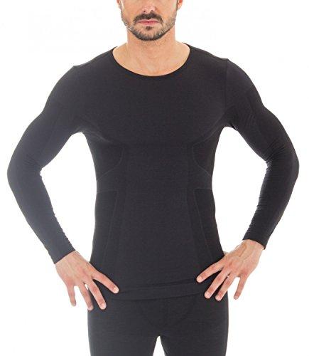 Brubeck® Set Herren LA-Shirt und Hose 1/1 Bein LE10930&LS11600 Merino-Qualität, Größe:M;Farbe:Schwarz