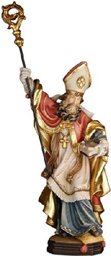 Demi Art - Heiligenfigur Hl. Willibald mit 2 Pfeile aus Berg-Ahorn Holz geschnitzt und von Hand bemalt, 30 cm (Pfeil Krippe)