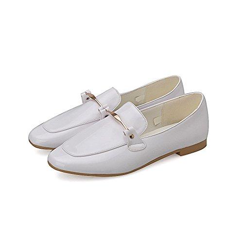 VogueZone009 Damen Ziehen Auf Quadratisch Zehe Niedriger Absatz Eingelegt Flache Schuhe Weiß