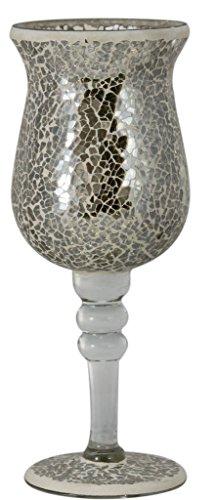 25cm Mosaic Goblet Candle Holder Mercury #CH112-M