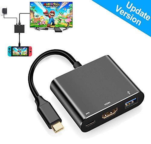 USB Type C auf 1080P HDMI Adapter für Nintendo Switch, USB C Ladeanschluss HDMI Konverter Adapter für Nintendo Switch/MacBook Pro/Samsung Galaxy S8 (Hdmi-kabel Hinweis: 3, Tv)