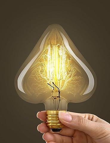 40W E27 Retro Style Industrie Ampoule à incandescence transparent en forme de coeur,220-240V#479