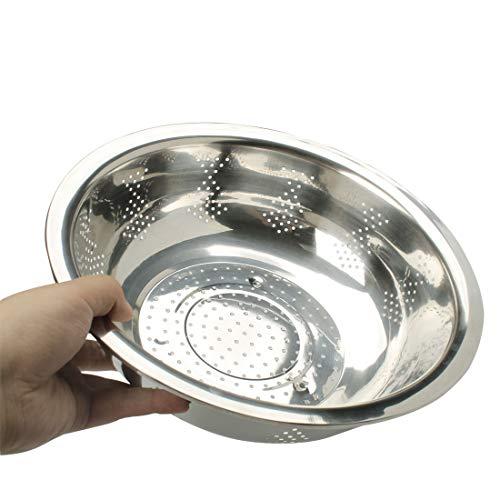 Sourcingmap Edelstahl Gemüse Obst Waschen Schüssel Sieb 30cm Durchmesser silber Ton - 4