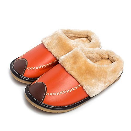 Señoras Zapatillas de Invierno de Cuero de la PU casa Interior Antideslizante térmica Mujer Maylooks cálido y Acogedor casa Zapatos al Aire Libre