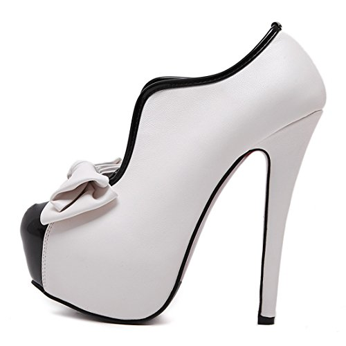 YE Damen High Heels Plateau Stiletto Vintage Stiefeletten Elegant Ankle Boots mit Schleife Party Schuhe Weiß