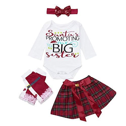 (Togelei Baby Weihnachten 4pc Kleidung Neugeborenes Baby Mädchen Weihnachten Strampler + Bow Rock + Beinwärmer + Stirnbänder Set Kleidung O-Neck Brief drucken Mode-Set Schmetterling Plaid Rock)