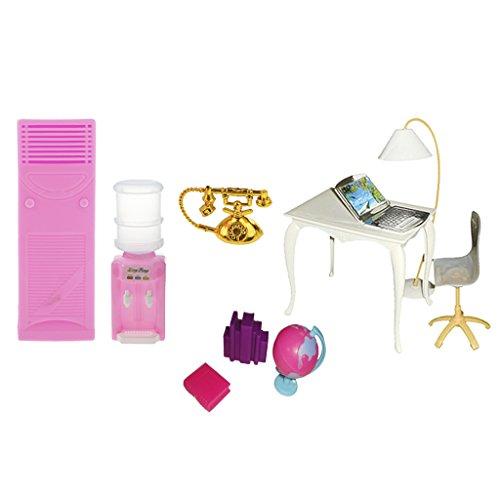Und Laptop-schreibtisch Stuhl-set (Homyl 10-teilig Puppenhaus Büromöbel Satz aus Kunststoff, Inkl. Stehlampe, Stuhl, Schreibtisch, Laptop, Telefon, Wasserspender, Klimaanlage, Globus, Bücherständer und Buch.)