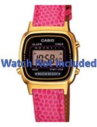 Casio correa de reloj LA670WEGL-4AEF / LA670WEGL-4 Piel Rosa 13mm(Sólo reloj correa - RELOJ NO INCLUIDO!)