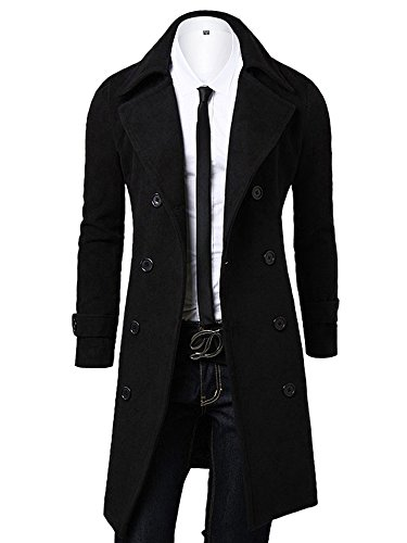 OCHENTA, a doppio petto classico collare cappotto di lana, uomo Nero Asian XL - Italiana 52