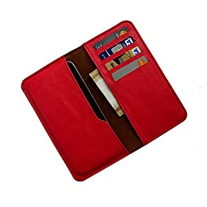 i-KitPit : PU Leather Wallet Flip Pouch Case For Intex Aqua HD (RED)