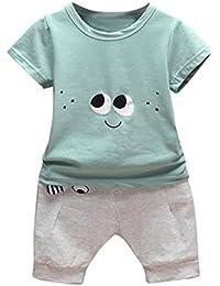 Bebé Niños Niñas Zolimx Ojos Impresión Tops Chaleco + Pantalones Cortos  Trajes Conjunto de Ropa c0cbdc50b5f