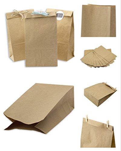 fiesta de comida de 80 g//m/² tama/ño 7 x 3,5 x 8,5 cm 25 peque/ñas bolsas de papel kraft marr/ón con asas SOS Block parte inferior