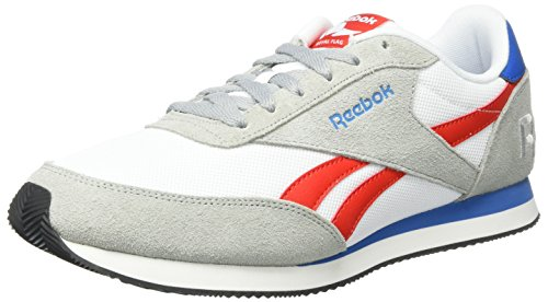 Reebok Royal Classic Jogger 2RS, Scarpe da Ginnastica Basse Unisex - Adulto, Multicolore (Baseball Grey/White/Riot Red/Inst Blue/Black), 44.5 EU