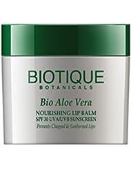 Biotique Aloe Vera Nourishing Lip Balm SPF 30 UVA/UVB Sunscreen Prevents Chapped and Sunburned Lips