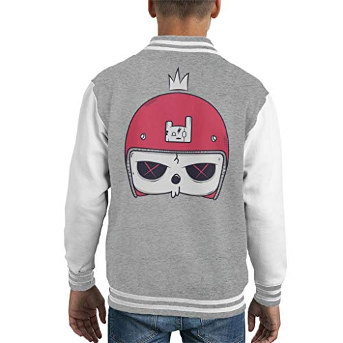 Cartoon Skull Helmet Kid's Varsity Jacket