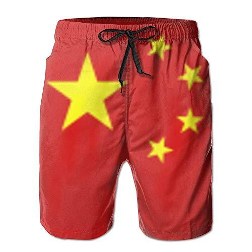 3c China (cleaer Flag China (3c) Mens' Beach Shorts Summer Board Pantss Large)