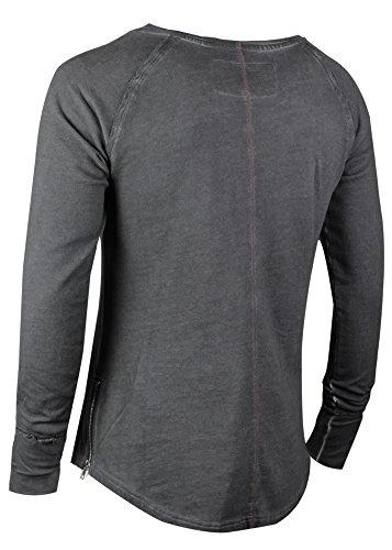 trueprodigy casuale uomo felpa uni semplice, abbigliamento urban moda girocollo (manica lunga & slim fit classic), sweat shirt moda vestiti colore: grigio 2563107-0403 Anthracite