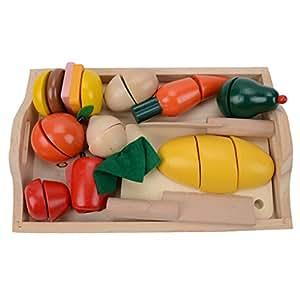 Happy Cherry Magnétiques Groupes d'aliments en bois Jeu d'imitation Jeux de rôle alimentaires -Fruits à Découper