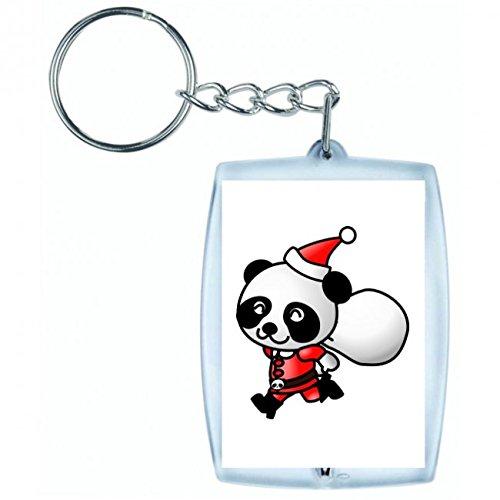 Druckerlebnis24 Schlüsselanhänger Panda- Santa Claus- Weihnachten- Tier- Beutel- Hut in Weiss | Keyring - Taschenanhänger - Rucksackanhänger - Schlüsselring