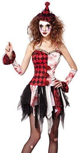 Clown Zombie Kostüm Damen - Fancy Me Damen Sexy Toter Zombie Hofnarr Killer Gruseliger Clown Halloween Zirkus Kostüm Kleid Outfit UK 10-12-14