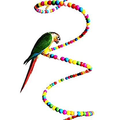 Keersi Colourful Rotate Ladder Toy for Bird Parrot Budgie Parakeet Cockatiel Conure Lovebird Finch Canary Cockatoo African Grey Amazon Cage Perch Stand 3