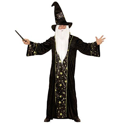Amakando Magier Herrenkostüm - S (48) - Gandalf Verkleidung Merlin Zauberkostüm Hexer Dumbledore Outfit Herren Zauberumhang Hexenmeister Weißer Zauberer Kostüm (Warlock Kostüm Für Erwachsene)