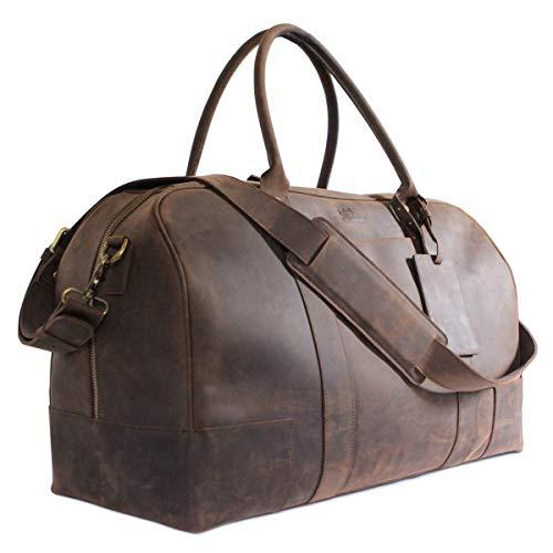 20490c34a882e CASE ELEGANCE Bucksaw Travel Reisetasche Leder Vintage-Look Wasserdicht für  Herren - Handgepäck Reisetasche Sporttasche für Reise - Wochenend Tasche  Duffle ...