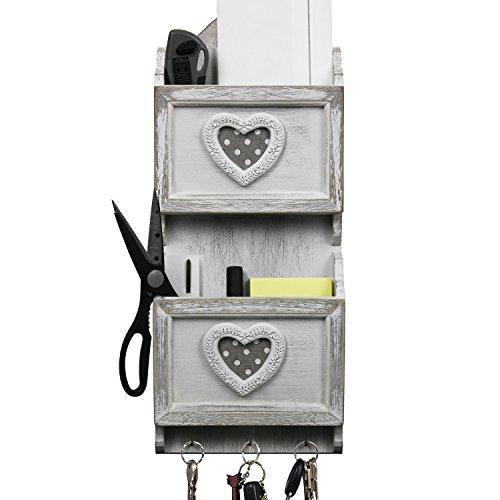 Wandablage mit 2 Holztaschen und 3 Haken, 18x6,5xH43cm, Weiß/Grau, Briefablage Postablage Ablagesystem Wandregal