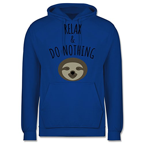 Statement Shirts - Relax & Do Nothing - Faultier - Männer Premium Kapuzenpullover / Hoodie Royalblau