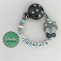 💙 Schnullerkette mit Namen Gravur Fuchs mit Schleife Blumen Geburt Taufe Geschenk Silikonring individuell Blau Mint Grau | Junge Mädchen Namenskette