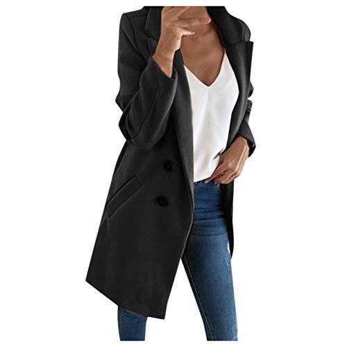 Lulupi Damen Lange Mantel Jacke Trenchcoat Herbst Winter Elegante Übergangsjacke Faux Wollmantel Revers Parka Coat Outwear Long Blazer Cardigan mit Taschen