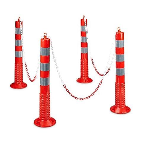 Relaxdays Poteau de parking signalisation et délimitation lot de 4 barrières de parking avec chaîne HxlxP: 75 x 22 x 22 cm borne balise flexible, Rouge-Gris