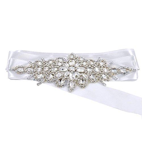 Vococal - Damen Braut Brautjungfer Hochzeit Kleid Sash Waist Belt Bund - Glänzende Perlen Satinband, Weiß (Ein Gurt Brautjungfer Kleider)