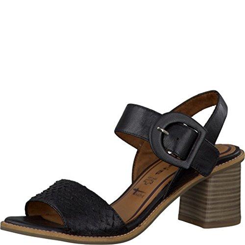 Tamaris Schuhe 1-1-28314-28 bequeme Damen Sandalette, Sandalen, Sommerschuhe für modebewusste Frau, schwarz (BLACK), EU 39