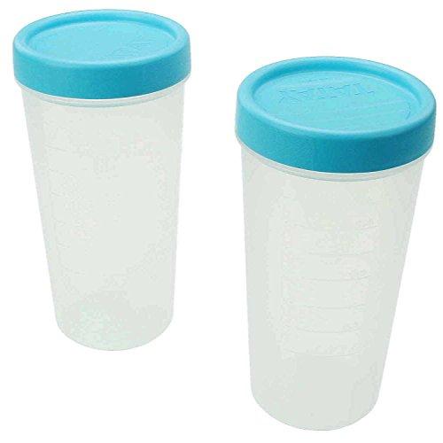Lot de 2 verre doseur pratique avec couvercle. 500 ml rond étanche verrouillable. Empilable. Transparent avec couvercle Bleu. Couvercle pour tourner. Pas de fuite. Sans Poignée. platzsparend