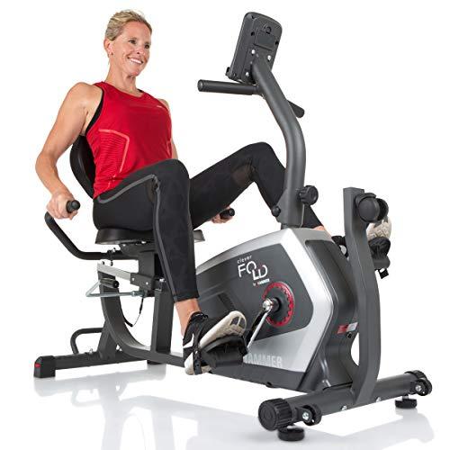 HAMMER CleverFold RC5 Liegeergometer, platzsparendes Fitnessfahrrad zum Klappen, Ergo-Bequemsitz mit Rückengesundlehne, Handpulssensoren, App-Steuerung, 19 Trainingsprogramme, 133 x 62 x 95 cm